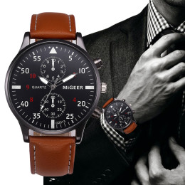 Men Retro Design Leather Band Watches