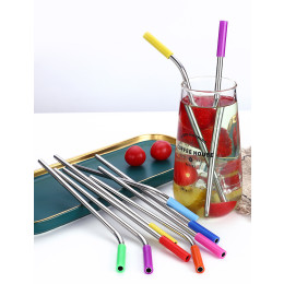 Reusable Stainless Steel 304 Straw With Anti-Scratch Silicone Mouth