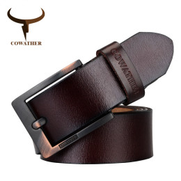 COWATHER business casual cowhide leather pin buckle belt XF003