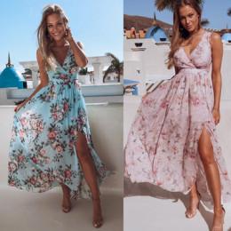 Women V Neck Split Dress Floral Print Casual Maxi Dresses