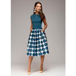 Vintage Dot Printing Patchwork A-line Dresses