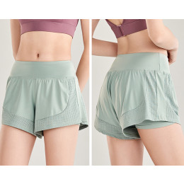 Quick-dry training fake two-piece yoga gym hot pants