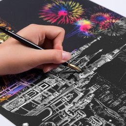 Creative DIY Scratch Bright City Night View Scraping Painting