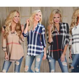 Women's V-Neck Checked Shirts