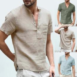 Mens Spring Summer Casual Shirt Short Sleeve Cotton Linen Shirts