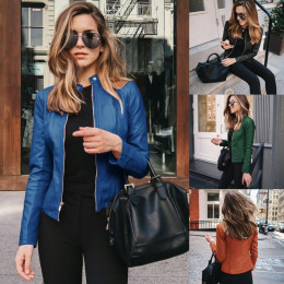 women Leather PU suit jacket