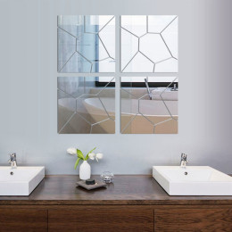 Acrylic Geometric Puzzle Mirror Wall Sticker