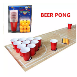 1 set entertainment fun party ping pong game party playing props drinking beer pong set 24 red cups & yellow ping pong balls
