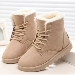 Women's Winter Warm Fur Suede Flat  Ankle Boots