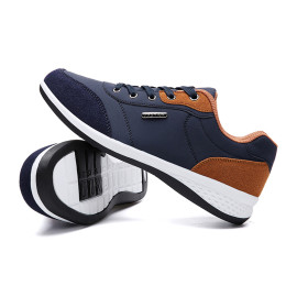 Lace-Up Men Microfiber Leather Casual Shoes