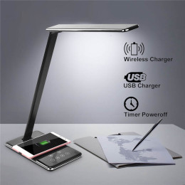 Multifunction LED Lamp Table Desk with QI Wireless Charging Pad