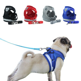Reflective vest Chest strap with Leash for pet dog