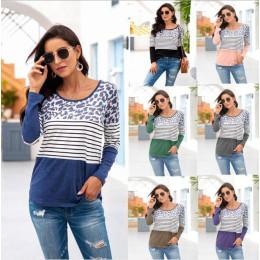 Ladies striped stitching leopard print long sleeve round neck T-shirt