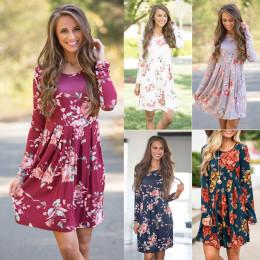 Printed Slim Fit Multicolor Long Sleeve Dress