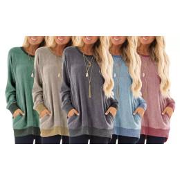 Haute Edition Women's Ultra Soft long sleeve Pullover Sweatshirt