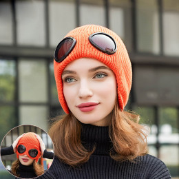 New fashion unisex russian winter hat warm knitt hat women pilot black ear flap hat with glasses fashion ear muff hat
