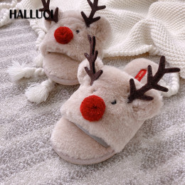 Cute Winter Christmas deer home shoes women slippers Japanese  sweet Peep toe seasons flip-flops rubber Bedroom women shoes