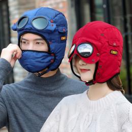 New original design fashion warm cap winter men winter hats for women kids waterproof hood hat with glasses cool balaclava