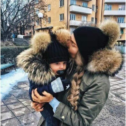 New style parent-child hats autumn and winter threaded baby hats double hair ball knitted hats