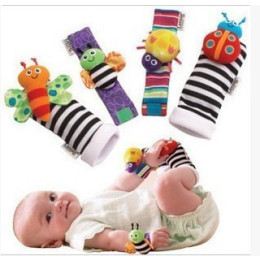 Cute Animal Soft Baby Socks Toys Wrist RattlesSet 4 pcs
