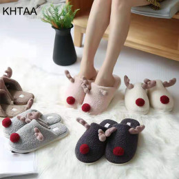 2020 Winter Unisex Slippers Warm Plush Cute Elk Reindeer Christmas Slip On Flat Female Soft House Shoes Ladies Comfort