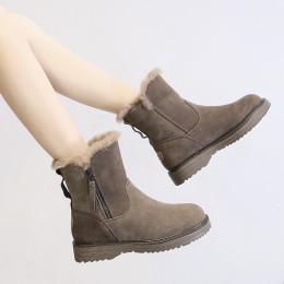 Thick-heeled short Martin boots plus fleece ski boots