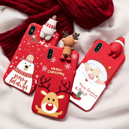 Christmas cartoon deer case for iphone 11 12 pro xs max xr x se 2 2020 silicone cover for iphone 7 8 6s plus 7 plus