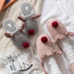 Winter Women's Slippers Warm Plush Cute Elk Reindeer?