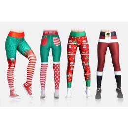 Christmas leggings women sexy high waist slim leggins fitness legging ladies  printed workout leggings stretch pants