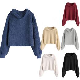 Long-sleeved hoodie Crop pullover sweatshirt top