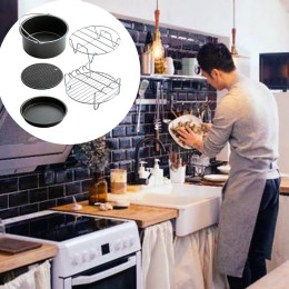 Air frying pan accessories 5pcs kitchen accessories fryer cooking pots basket pizza pan grill pot rack tools