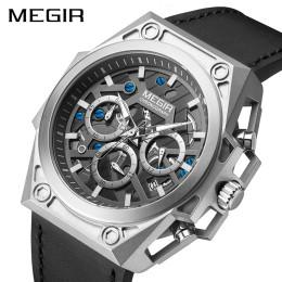 Megir Men's Stainless Steel Watches Dwaterproof Water Sports Quartz Wristwatches Chronograph Stop Watches For Man Male Hour Clock