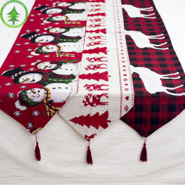 christmas elk snowman table runner merry christmas home decoration 2020 christmas ornaments new year decoration 2021