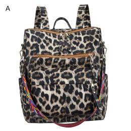 Ladies PU backpack trendy leopard print student school bag  female casual backpack