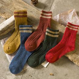 Japanese Jarajuku Style Knitting Socks Women Autumn Winter Two Stripes Woman Socks High Quality
