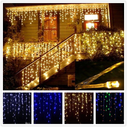 8m-20m Waterproof Outdoor Christmas Light Droop 0.4-0.6m Led Curtain Icicle String Lights Garden Mall Eaves Decorative Lights