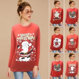 Christmas Print Plus Size Round Neck Long Sleeve T-shirt Top Sweatshirt
