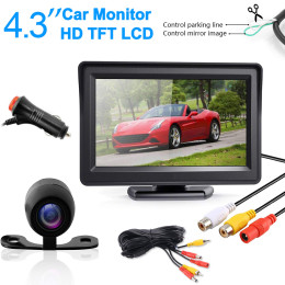 YuanTing Night Vision HD Car Rear View Parking Guide Lines ON/Off Waterproof Reverse Auto Back Up Camera & 4.3'' TFT LCD Monitor
