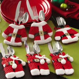 6x, 12x or 18x Santa Claus cutlery holder ,Small knife and fork set (clothes + pants)