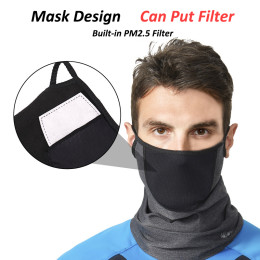 Winter Fleece Warm Cycling Face Mask Breathable Bike Half Face Mask Windproof Bicycle Scarf Dust-proof Replaceable Filter Mask -With filter