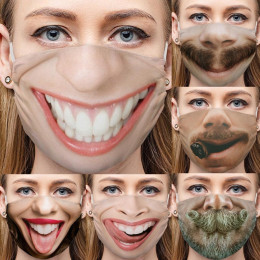 3 or 6pcs Mask Adult Print Exhaust Sunscreen Face Cover Breathable Black Masks Personality Face Expression Funny Masks Dustproof Cotton Masks