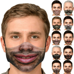 3 or 6pc Mask Adult Print Exhaust Sunscreen Face Cover Breathable Black Masks Personality Face Expression Funny Masks Dustproof Cotton Masks