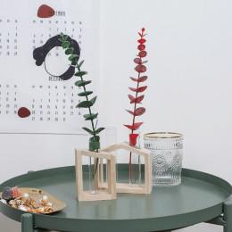 Nordic Style Vase Table Desk Test Tube Glass Flower Pot Hydroponic Brown Vase Flower Plant Pot Wooden Tray Ornament Home Decor