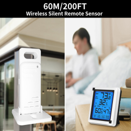 Touch screen Weather Station + Outdoor Forecast Sensor Backlight Thermometer Hygrometer Wireless weather station