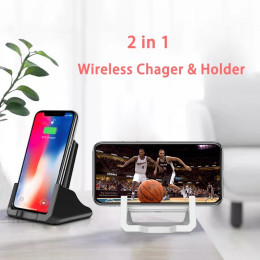 10W/15W 2 in 1 Qi Wireless Charger Phone Holder