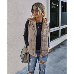 Winter Warm Plush Jackets Women Double Sided Vest Hooded Ladies Solid Colour Casual Pockets Coats Vests Outwear chaleco mujer 30