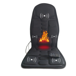 Electric Portable Heating Vibrating Back Massager Chair In Cussion Car Home Office Lumbar Neck Mattress Pain Relief