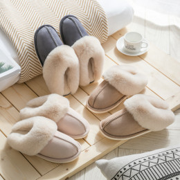 Luxury Faux Home Women Full Fur Slippers Winter Warm Plush Bedroom Non-Slip Couples Shoes Indoor Ladies Furry Slippers