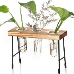Table Desk Bulb Glass Hydroponic Vase Flower Plant Pot Wooden Tray Wedding Home Decoration Accessories Plant Tabletop Flowerpot