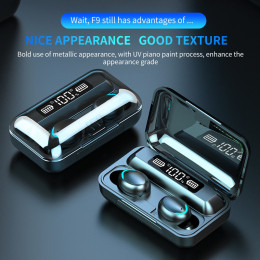F9-6 True Wireless Bluetooth Earbuds with 1200mAh Charging Case